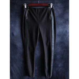 Worth New York Black Leather Trim Dress Pants 0